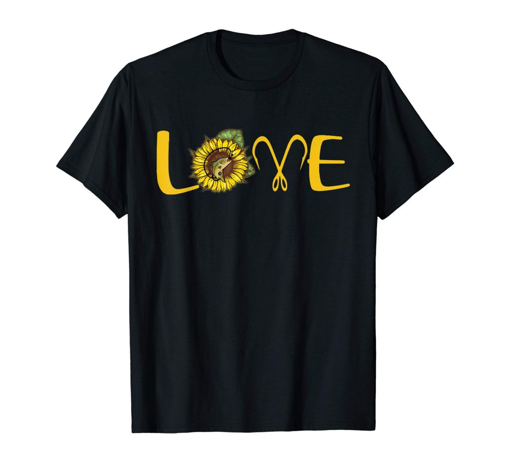 I Love Fishing And Sunflower T-Shirt Funny Fishing Gifts