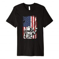 4th of july american flag astronaut astronomy space gifts premium t-shirt