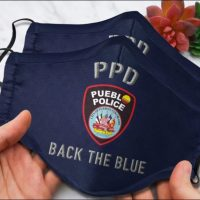 Pueblo Police Department back the blue face mask